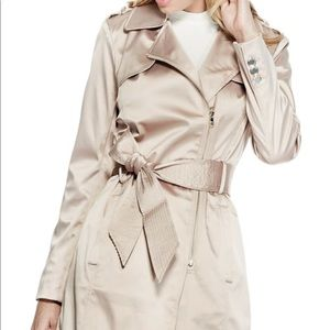 Guess Satin nude rose gold zip trench coat jacket